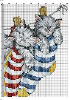 Kittens in socks X-stitch chart 2 of 3 Cross Stitch Owl, Cat Cross Stitches, Cross Stitch Bookmarks, Cross Stitch Animals, Cross Stitch Charts, Cross Stitch Designs, Cross Stitching, Cross Stitch Embroidery, Cross Stitch Patterns