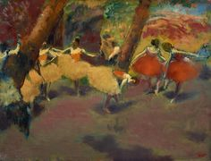 Before the Performance Edgar Degas c. 1896-98  This is a relatively small canvas for Degass late work and indeed some of the dancers poses look back to his earlier ballet pictures from the 1870s. Here a group of dancers are on stage preparing themselves for the impending performance; they practise their positions and one ballerina stoops to tie her shoe. The dancers are not individuals but faceless memories of a scene he had once observed. The vivid colors are vibrant and unrealistic evoking…