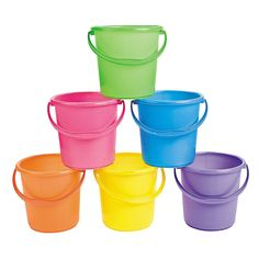 Sand Bucket Assortment - OrientalTrading.com Could use these for the dinosaur egg hunt!