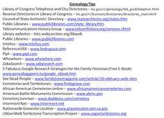 Geneology Tips/Websites