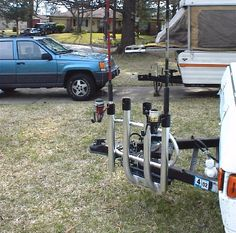 Now I can transport the poles on the tongue when in tow, and then move the rod holder to the Jeeps trailer hitch for the daily runs to the beach.