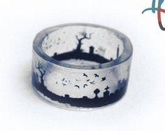 Graveyard Ring, Resin Jewelry, Resin ring, spooky, halloween, tombstones, grave, graves, resin, creepy, gravestone, ghouls. ghost, wide ring