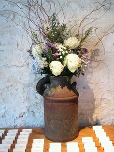 Love the milk can idea for alter floral arrangements!