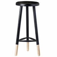 Zwart houten krukje met witte pootjes.  materiaal: hout kleur: zwart afmeting: doorsnede 43 cm. x h 68 cm.