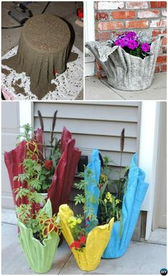 Instead of tossing old towels, make these Towel Wrapped Textured Planters Diy Concrete Planters, Concrete Garden, Diy Planters, Recycled Planters, Succulent Planters, Planter Ideas, Succulents Garden, Unique Garden Decor, Unique Gardens
