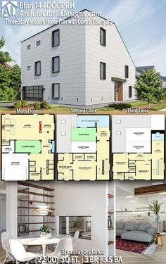 Modern House Plan 144000PRH gives you 2,500+ square feet of living space with 3 bedrooms and 3.5 baths. AD House Plan #144000PRH #adhouseplans #architecturaldesigns #houseplans #homeplans #floorplans #homeplan #floorplan #floorplans #houseplan Craftsman House Plans, Modern House Plans, House Floor Plans, House Facades, Facade House, Building Section, Building A House, Beautiful Home Designs, Apartment Plans
