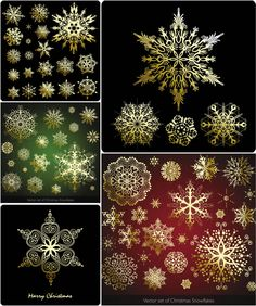 Set of vector gilded snowflake designs and templates in different shape and design styles for your Christmas decorations. Free Vector Graphics, Vector Art, Snowflake Designs, Vector Background, Different Shapes, Snowflakes, Vectors, Backdrops, Christmas Decorations