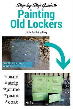 A DIY showing how to paint metal lockers. We turned drab, gray markers into a bright center piece for our girls' room. Metal Furniture, Furniture Projects, Painted Furniture, Diy Furniture, Metal Projects, Locker Furniture, Diy Projects, Furniture Refinishing, Luxury Furniture