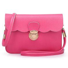 22c567fcc20ea Hemlock Clutch Purse Bags,Hemlock Faux Leather Shoulder Bag Small Tote  Handbag (Hot pink