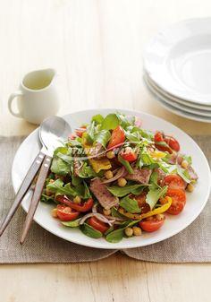 Barbecued capsicum, beef & rocket salad  Prep 20 mins   Cook 15 mins   Serves 4
