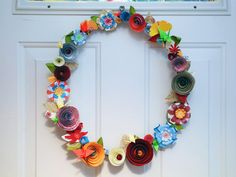 colorful paper flower wreath ~<3K8<3~