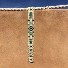 Turquoise veren Bead Loom armband Boheemse Boho door PuebloAndCo