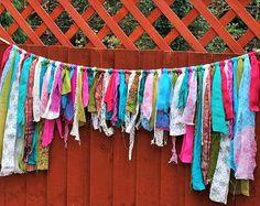 40 Rainbow gypsy garland/bunting/curtains. by SunFaeDesigns