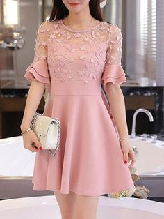 Round Neck Decorative Lace Flounce Tiered Plain Skater Dress is hot sale on ByChicStyle, come to ByChicStyle to see more trendy Skater Dresses online. Stylish Dresses, Cute Dresses, Vintage Dresses, Short Dresses, Fashion Dresses, Girls Dresses, Skater Dresses, Fashion Fashion, Korean Fashion