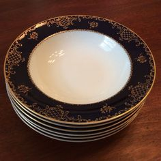 """Rosenthal Blue Rhapsody Four 10 3//8/"""" Dinner Plates Excellent Condition"""