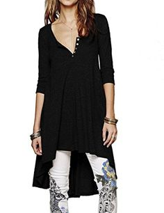 OURS Women ButtonUp VNeck Tops 34 Sleeve High Low Casual Tunic Dress M Black -- Read more reviews of the product by visiting the link on the image. Note: It's an affiliate link to Amazon.