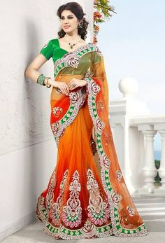 Bright orange and lime green. First time i've come across this color combination. Border design is very lively