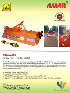 Amar Rotavator - Rotary Tiller , It used to tilt the soil for seeding Agricultural Implements, Chain Drive, Acv, Candle Making, Rotary, Tilt, Tractors, Agricultural Tools, Making Candles