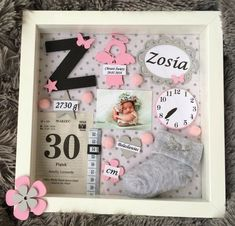 We want so much that a girl wants # - Baby Girl Nursery Room . Baby Crafts, Diy And Crafts, Newborn Shadow Box, Shadow Box Baby, Baby Frame, Baby Memory Frame, Baby Memories, Baby Keepsake, Baby Art