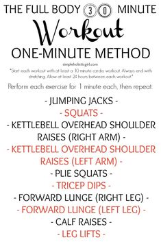 Fitness Motivation : The Full Body 30 Minute Workout: One-Minute Method - www. 10 Minute Cardio Workout, Toning Workouts, Fun Workouts, Exercise Routines, Workout Ideas, Exercises, At Home Workouts For Women, Gym Workouts Women, Planet Fitness Workout