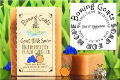 """""""Blueberry Peach Cobbler"""" Goat Milk Soap for Hope.  Our latest """"Soap for Hope"""" offering has arrived. Just close your eyes and our Blueberry Peach Cobbler will take you back to grandma's kitchen (provided grandma made blueberry peach cobbler). Take the journey and $1 from every bar sold will go to the """"Portland Animal Welfare Team"""". Learn more at our pay it forward page."""