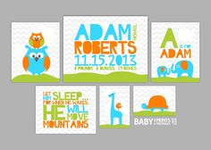Personalized Modern Aqua Orange Lime green by babyartprints, $60.00