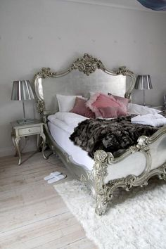 Grey + silver + pink bedroom idea. There's something about the metallic lamp shades that I love.