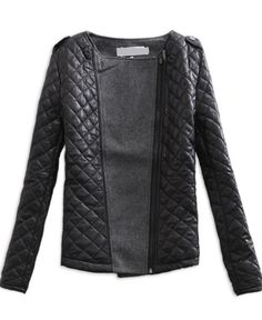 So chic, please please please come in the mail next week! Black Grey Long Sleeve Quilted Asymmetric Zip Jacket US$34.10