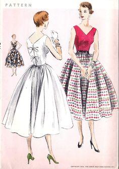 "1950s Misses Party Dress, Summer Dress, Rockabilly Dress Vintage Sewing Pattern, Design 4963 bust 30"" uncut"