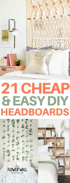 Unique DIY headboard ideas that are cheap & easy to make. Many of them would cost under $50 and look so expensive! Perfect for your bedroom or dorm room. There are rustic, modern, and bohemian options so something for everyone.