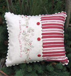 Simple Pillow Patterns | Simple Joys of Winter Pillow Pattern  (Do in black work rather than red on cream?)