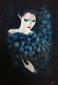Lady in Blue by Silpa Saseendran Ladybug Rocks, Blue Painting, Bedroom Art, Fine Art America, Disney Characters, Fictional Characters, Art Gallery, Greeting Cards, Romantic