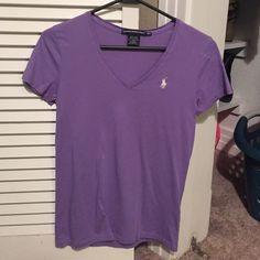 Vneck Polo Tee Purple Tee Ralph Lauren Tops