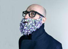© Jérémy Martin with Julien Aschner Glitter Vans, Glitter Gel, Moustaches, Beard Trend, Glitter Beards, Flower Beard, Flowers For Men, Beard Look, Interview