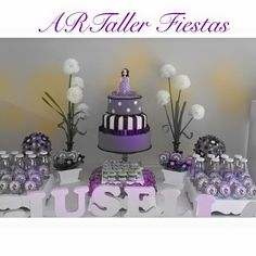 Decoração festa infantil, menina, Princesa Sofia, lilás e branco, Candy Bar, doces.