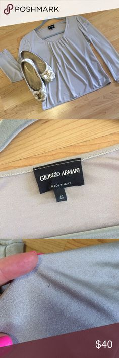 Giorgio Armani Blouse Black Label Black label Armani.  Euro size 40 on tag but works for a size small.  Priced to sell.  Draped  delicate style.  Very becoming.  Silver-Gray color.  Wear with jeans or slacks.  Priced modestly has faint piling on sleeve-see photo.  Ask any and all questions.  Final sale. Giorgio Armani Tops Blouses