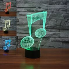 SUPERNIUDB 3D LED Modern Musical Note Night Light 3D LED USB 7 Color Change LED Table Lamp Xmas Toy Gift