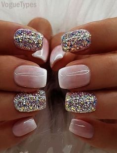 Farb Shooting Star Effekt Glitzer Nagellack – Sparkly Nails Color Shooting Star Effect Glitter Nail Polish Sparkly Nails Milky Nails, White Nail Designs, Rose Gold Nail Design, Nail Glitter Design, Cute Toenail Designs, Fancy Nails Designs, New Years Nail Designs, Glitter Nail Polish, Gel Polish