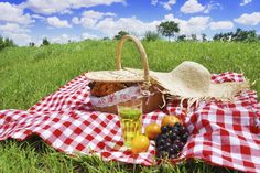 A picnic basket on the grass on a sunny day