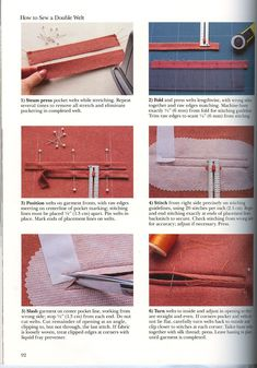 Single Welt Pocket pg 92 use step 5 by Ann's Fashion Studio Sewing Lessons, Sewing Hacks, Sewing Tutorials, Sewing Crafts, Sewing Projects, Pocket Pattern, Collar Pattern, Sewing Patterns Free, Free Sewing