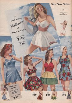 From the collection of Jessica H. Vintage Bathing Suits, Vintage Swimsuits, 1940s Fashion, Vintage Fashion, Club Fashion, Retro Outfits, Vintage Outfits, Vintage Dresses, 1940s Looks