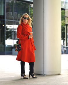 An orange statement coat for Meetings or Meet Me For Drinks - The Sequinist Fall Fashion Trends, Autumn Fashion, Hobbs Coat, Fashion For Women Over 40, Fall Wardrobe, Looking For Women, Going Out, Style Inspiration, Womens Fashion