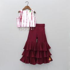 Pre Order: Cherry Dip With Sharara Kids Dress Wear, Kids Gown, Party Wear Dresses, Birthday Dresses, Kids Wear, Girls Dresses Sewing, Stylish Dresses For Girls, Dresses Kids Girl, Girls Frock Design