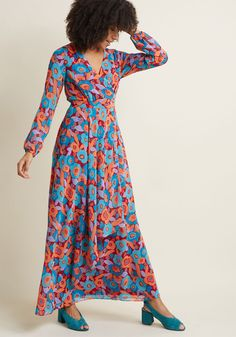 Fully Fab Long Sleeve Maxi Dress - When it comes to the aesthetic of this floral maxi dress from our ModCloth namesake label, sophistication is in no short supply! With its surplice neckline, sheer blousey sleeves, ruffled, wrap-style skirt, and palette of red, orange, peach, sky, and teal hues, this chiffon stunner is as upbeat as it is elegant.