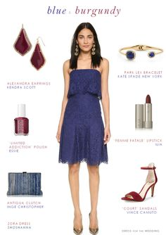 Blue and Burgundy. This navy blue strapless lace dress with burgundy accessories makes for a great wedding guest outfit for fall 2015 weddings. Burgundy Wedding Guest Dress, Fall Wedding Dresses, Wedding Attire, Lace Dress, Dress Up, Strapless Dress, Creative Wedding Inspiration, Fashion Inspiration, Short Dresses