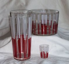 Mid Century Retro Red & White Stripe Glass Bar Set by TreasureByDemand, $32.00