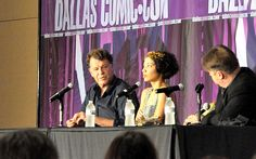John Noble and Jasika Nicole at #DallasComicCon - Check out all of my convention photos at http://thenerdfu.com/dallas-comic-con-2013-fringe-panel-photos/ - #Fringe #WalterBishop #AstridFarnsworth