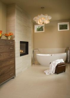 15 The Best Bathroom Fireplace Design Inspirations - Bathroom Cost, Add A Bathroom, Budget Bathroom Remodel, Cozy Bathroom, Simple Bathroom, Bathroom Renovations, Master Bathrooms, Scandinavian Bathroom, 1950s Bathroom