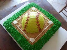 Softball cake for Natalie's birthday Softball Cupcakes, Softball Treats, Softball Birthday Parties, Softball Party, Softball Stuff, Girls Softball, Softball Hair, Girls Basketball, Volleyball Players