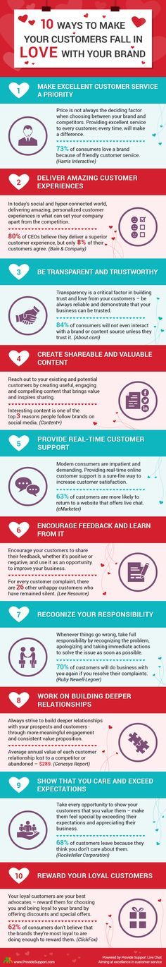10 Ways to Make Customers Fall in Love with Your Brand - #marketing #infographic